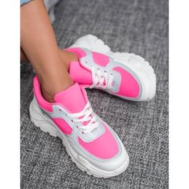 Ideal Shoes Neonowe Obuwie Sportowe białe różowe wielokolorowe 2