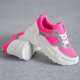 Ideal Shoes Neonowe Obuwie Sportowe białe różowe wielokolorowe 3