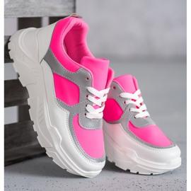 Ideal Shoes Neonowe Obuwie Sportowe białe różowe wielokolorowe 4