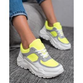 Ideal Shoes Neonowe Obuwie Sportowe białe wielokolorowe żółte 3