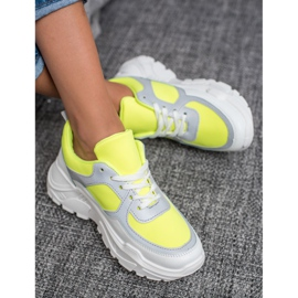 Ideal Shoes Neonowe Obuwie Sportowe białe wielokolorowe żółte 4