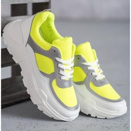 Ideal Shoes Neonowe Obuwie Sportowe białe wielokolorowe żółte 1