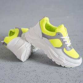 Ideal Shoes Neonowe Obuwie Sportowe białe wielokolorowe żółte 2