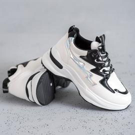SHELOVET Buty Sportowe Z Eko Skóry białe wielokolorowe 3