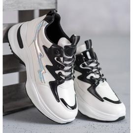 SHELOVET Buty Sportowe Z Eko Skóry białe wielokolorowe 4