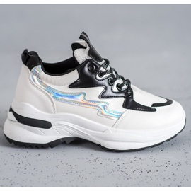 SHELOVET Buty Sportowe Z Eko Skóry białe wielokolorowe 5