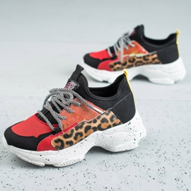 SHELOVET Buty Sportowe Leopard Print czerwone wielokolorowe 1
