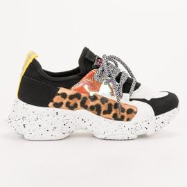 SHELOVET Buty Sportowe Leopard Print czarne wielokolorowe 7