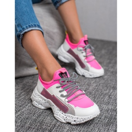 SHELOVET Wsuwane Sneakersy różowe wielokolorowe 3