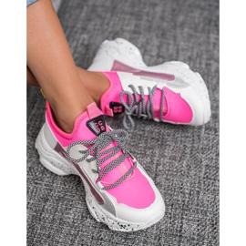 SHELOVET Wsuwane Sneakersy różowe wielokolorowe 4