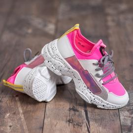 SHELOVET Wsuwane Sneakersy różowe wielokolorowe 1