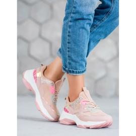SHELOVET Modne Buty Sportowe różowe 4