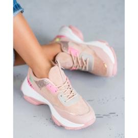 SHELOVET Modne Buty Sportowe różowe 1