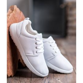SHELOVET Tekstylne Obuwie Sportowe białe 4