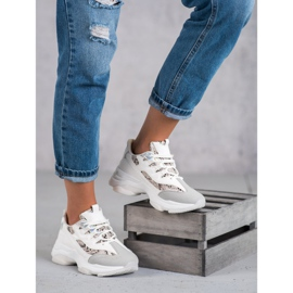 Kayla Wiązane Sneakersy Snake Print białe 3