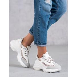 Kayla Wiązane Sneakersy Snake Print białe 1