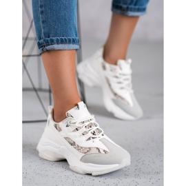 Kayla Wiązane Sneakersy Snake Print białe 2