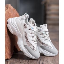 Kayla Wiązane Sneakersy Snake Print białe 5