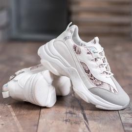 Kayla Wiązane Sneakersy Snake Print białe 4