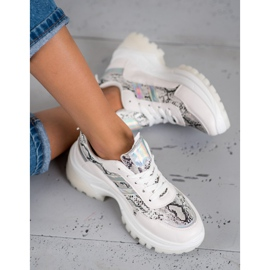 SHELOVET Białe Sneakersy Snake Print 2