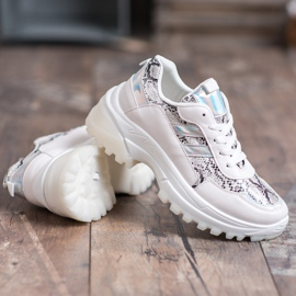 SHELOVET Białe Sneakersy Snake Print 3