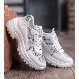 SHELOVET Białe Sneakersy Snake Print 4