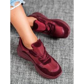 SHELOVET Bordowe Buty Sportowe czerwone 3