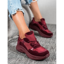 SHELOVET Bordowe Buty Sportowe czerwone 2