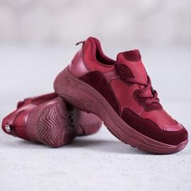 SHELOVET Bordowe Buty Sportowe czerwone 1