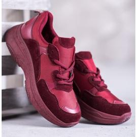 SHELOVET Bordowe Buty Sportowe czerwone 4