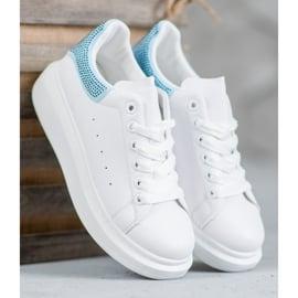 Yes Mile Buty Sportowe Z Kryształkami białe 1