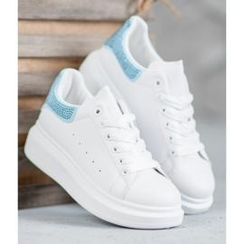 Yes Mile Buty Sportowe Z Kryształkami białe 2