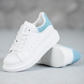 Yes Mile Buty Sportowe Z Kryształkami białe 5
