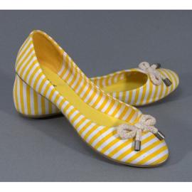 Balerinki W Paski Z Kokardą 16-C Żółty żółte 2