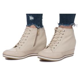 Beżowe Sneakersy Na Koturnie Capucine Material beżowy 2
