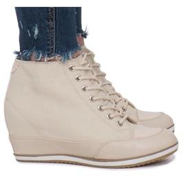 Beżowe Sneakersy Na Koturnie Capucine Material beżowy 4
