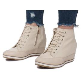 Beżowe Sneakersy Na Koturnie Capucine Material beżowy 1