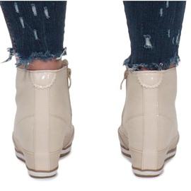 Beżowe Sneakersy Na Koturnie Capucine Material beżowy 3
