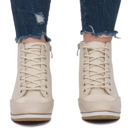 Beżowe Sneakersy Na Koturnie Capucine Material beżowy 5