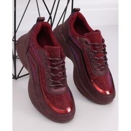 Buty sportowe bordowe BY-082 Wine Red czerwone 4