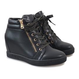 Czarne sneakersy ze złotym suwakiem TL-22 4