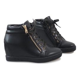 Czarne sneakersy ze złotym suwakiem TL-22 5