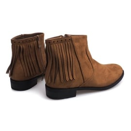 Zamszowe botki w stylu Boho 8355 Camel brązowe 3
