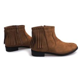 Zamszowe botki w stylu Boho 8355 Camel brązowe 4