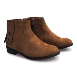 Zamszowe botki w stylu Boho 8355 Camel brązowe 5