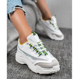SHELOVET Białe Sneakersy Z Brokatem 4