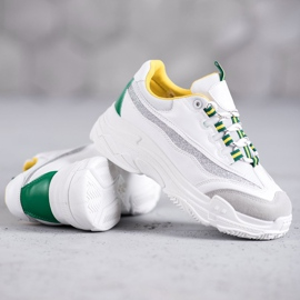 SHELOVET Białe Sneakersy Z Brokatem 2