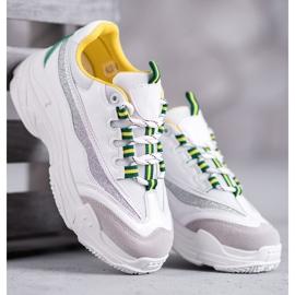 SHELOVET Białe Sneakersy Z Brokatem 3