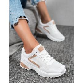 SHELOVET Sportowe Buty Z Brokatem białe 2