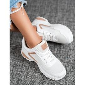 SHELOVET Sportowe Buty Z Brokatem białe 3
